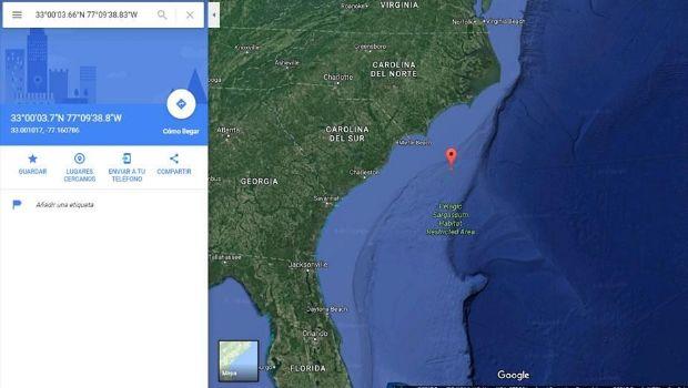 Identificaron un objeto extraño en el Océano Atlántico en Google Maps