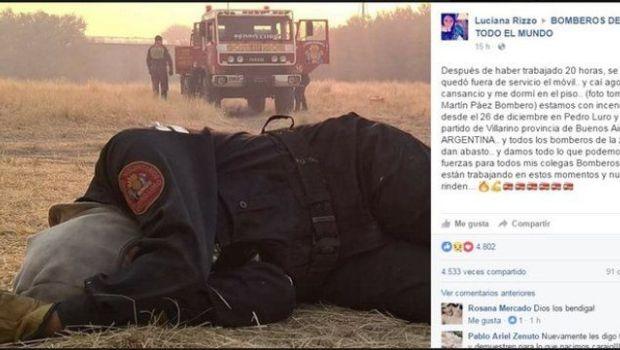 Habló la bombera de la foto viral que circula en las redes