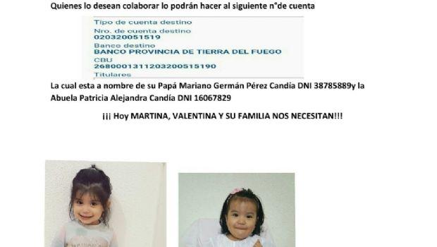 Ushuaia: Piden solidaridad urgente para Martina y Valentina