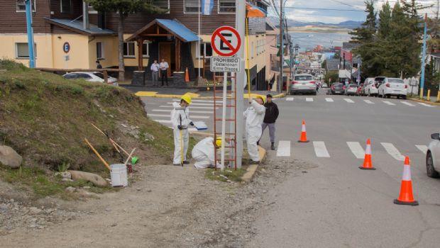 Presos del sistema penitenciario pintan postes de luz en Ushuaia