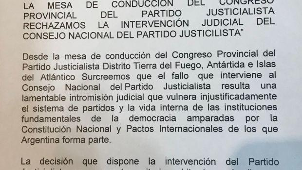 Justicialistas provinciales rechazan la intervención judicial del PJ