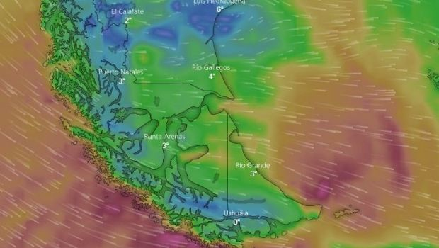 Rige un alerta meteorológico para Tierra del Fuego